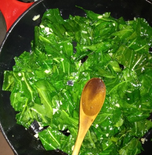 Sautéed collards with garlic