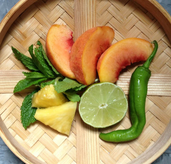 peaches pineapple mint lime hot pepper fruit salsa recipe