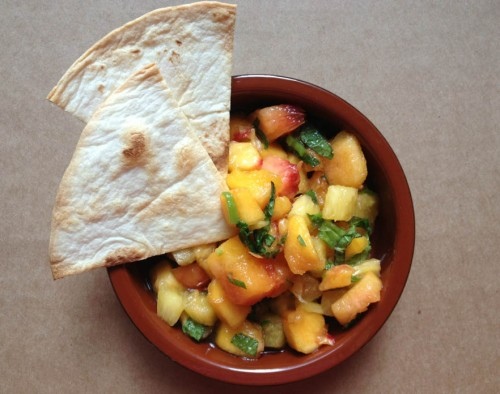 peaches pineapple salsa mint lime juice tortilla chips fruit recipe