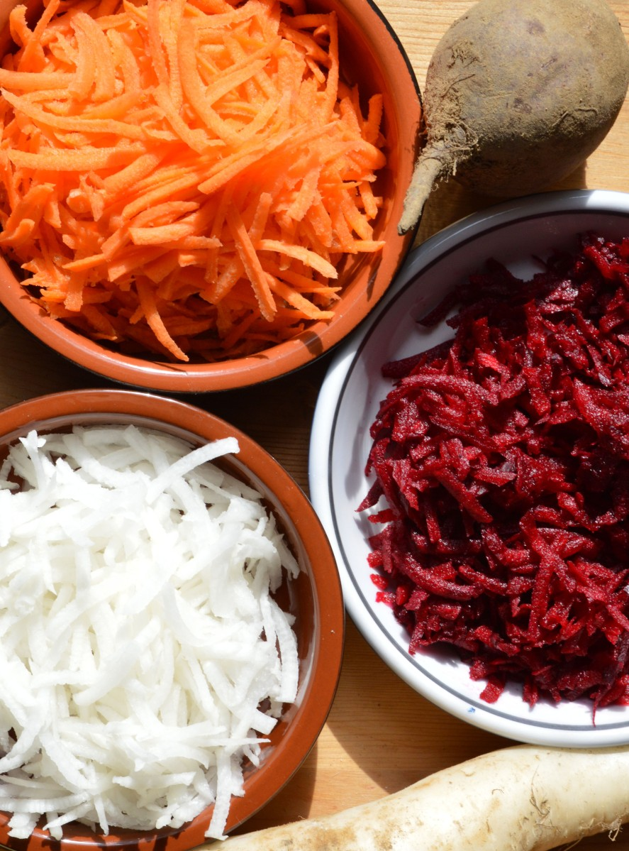 beet daikon carrot grated root vegetable cold salad radish